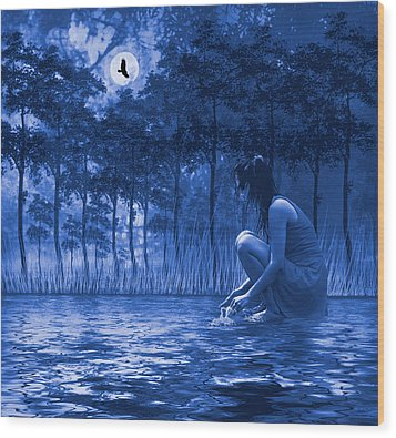 Wood Print featuring the photograph Girl Washing At The River by Diane Schuster