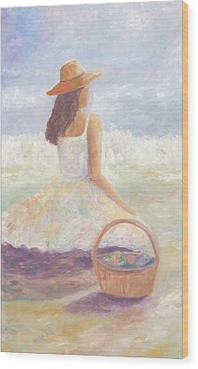 Girl With A Basket Wood Print