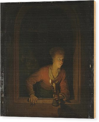 Girl With An Oil Lamp At A Window Wood Print by Gerard Dou