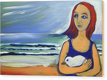 Girl With Bird Wood Print by Winsome Gunning