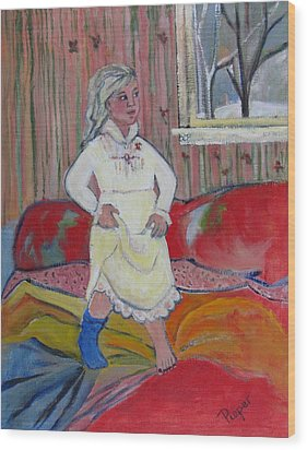 Wood Print featuring the painting Girl With Blue Sock And Red Toe Nails by Betty Pieper