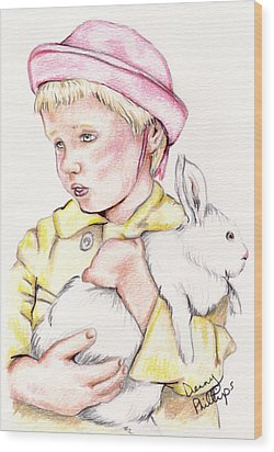 Girl With Bunny Wood Print by Denny Phillips