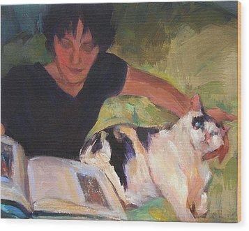 Girl With Cat Wood Print by Merle Keller