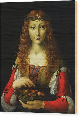 Wood Print featuring the painting Girl With Cherries by Giovanni De Predis