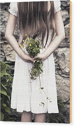 Girl With Flowers Wood Print by Joana Kruse
