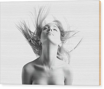 Girl With Flying Blond Hair Wood Print by Olena Zaskochenko