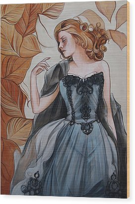 Girl With Golden Leaves Wood Print by Jacque Hudson