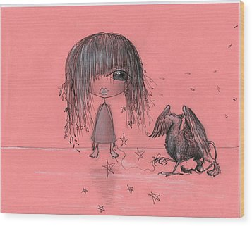 Girl With Griffin  Wood Print