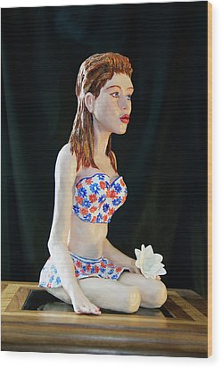 Girl With Lotus 3 Wood Print by Yelena Rubin