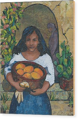 Girl With Mangoes Wood Print by Barbara Nye