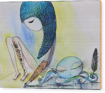 Girl With Octopus  Wood Print