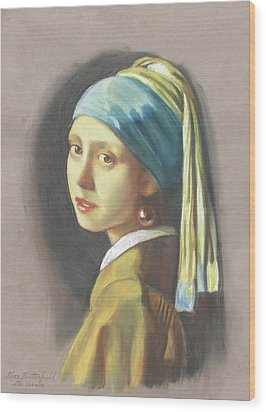 Girl With Pearl Earring By Vermeer Wood Print by Kean Butterfield