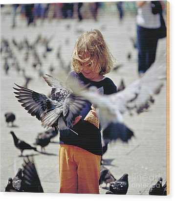 Girl With Pigeons Wood Print by Heiko Koehrer-Wagner