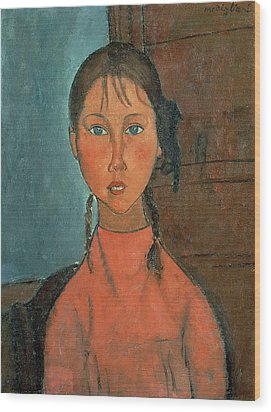 Girl With Pigtails Wood Print by Amedeo Modigliani