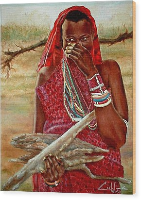 Girl With Sticks Wood Print by G Cuffia