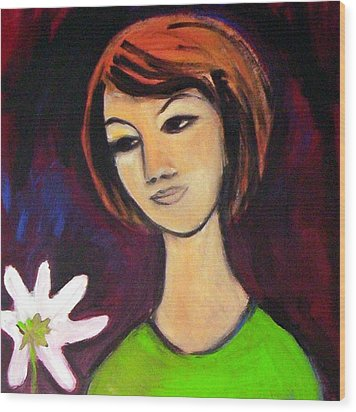 Wood Print featuring the painting Girl With White Flower by Winsome Gunning