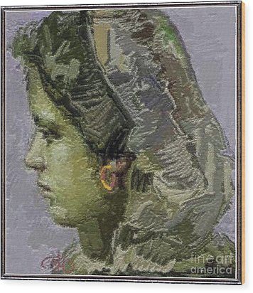 Girl With Yellow Earring Gwye2 Wood Print