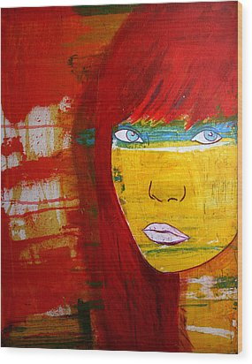 Wood Print featuring the painting Girl6 by Josean Rivera