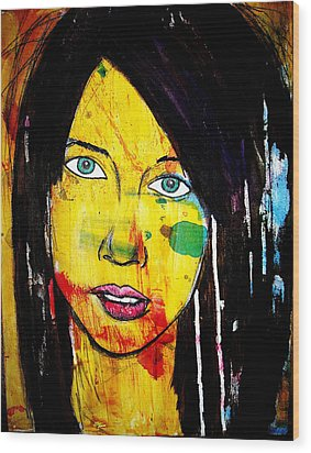 Wood Print featuring the painting Girl9 by Josean Rivera