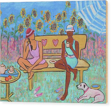 Wood Print featuring the painting Girlfriends' Teatime IIi by Xueling Zou
