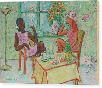 Wood Print featuring the painting Girlfriends' Teatime V by Xueling Zou