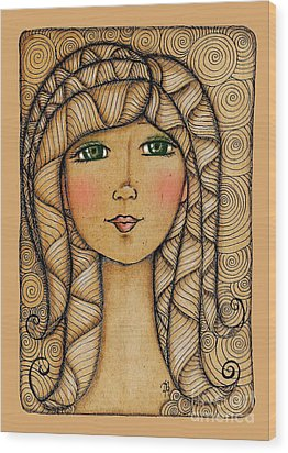 Girl's Face Wood Print by Delein Padilla