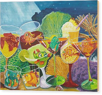 Girls Night Out At The Coral Rock Cafe Wood Print by Linda Kegley