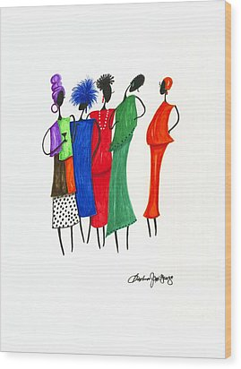 Girls Night Out Wood Print by Bee Jay