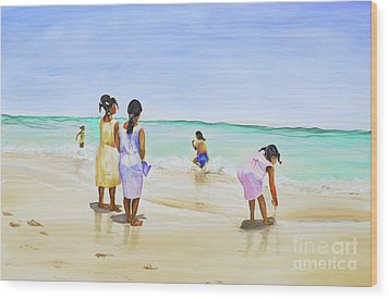 Wood Print featuring the painting Girls On The Beach by Patricia Piffath