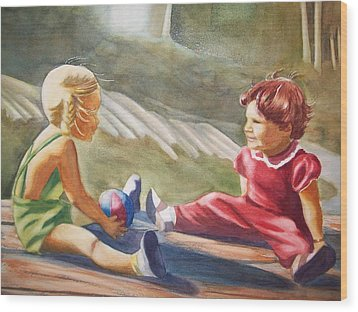 Girls Playing Ball  Wood Print by Marilyn Jacobson