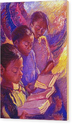 Girls Reading Wood Print