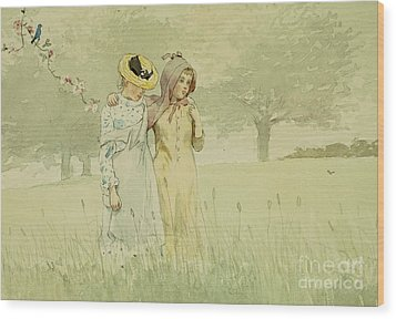 Girls Strolling In An Orchard Wood Print by Winslow Homer