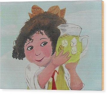 Girls With Lemonade Wood Print by M Valeriano