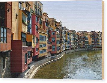 Girona Riverfront Wood Print by Mathew Lodge