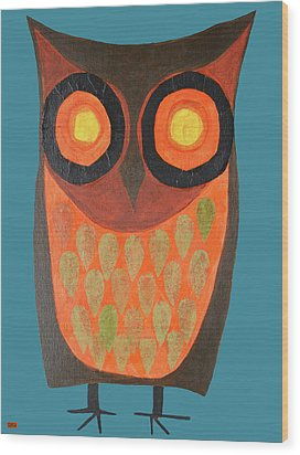 Give A Hoot Orange Owl Wood Print