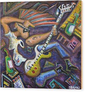 Give Em The Boot - Punk Rock Cubism Wood Print by Jason Gluskin