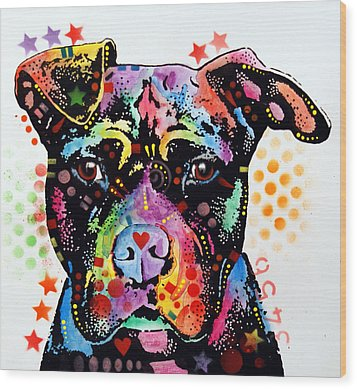 Give Love Pitbull Wood Print by Dean Russo