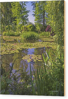 Giverny France - Claude Monet's Pond  Wood Print by Allen Sheffield