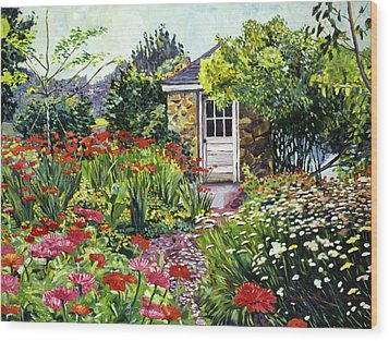 Giverny Gardeners House Wood Print by David Lloyd Glover