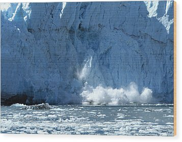Glacier Calving Wood Print by Dave Clark