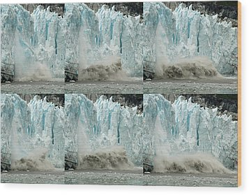 Glacier Calving Sequence 3 Wood Print by Robert Shard
