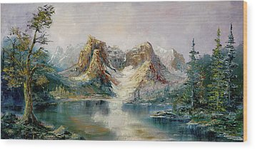 Wood Print featuring the painting Glacier Lake by Rebecca Kimbel