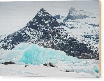Wood Print featuring the photograph Glacier Landscape Iceland Blue Black White by Matthias Hauser