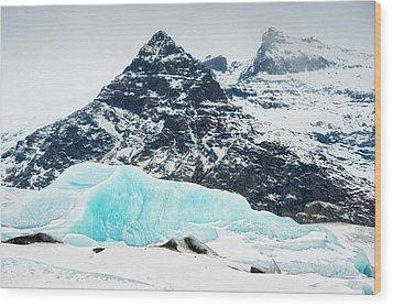 Glacier Landscape Iceland Blue Black White Wood Print by Matthias Hauser