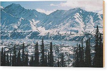 Glacier  Mountains Wood Print by Judyann Matthews