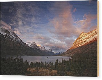 Glaciers Surround Saint Mary Lake Wood Print by Michael Melford
