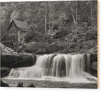 Glade Creek Grist Mill Monochrome Wood Print