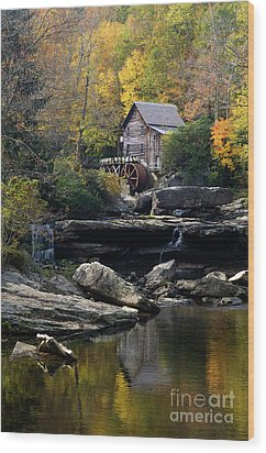 Wood Print featuring the photograph Glade Creek Grist Mill - D009975 by Daniel Dempster