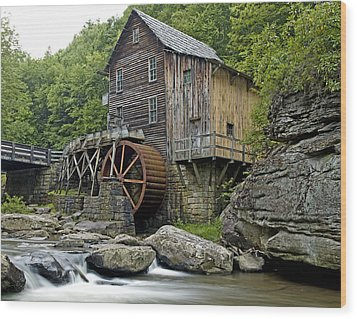 Glade Creek Grist Mill Located In Babcock State Park West Virginia Wood Print by Brendan Reals