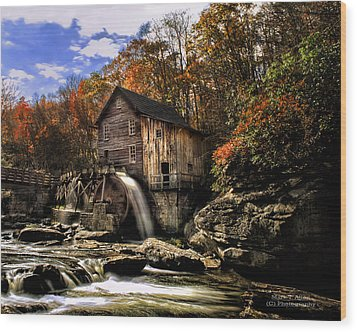 Glade Creek Grist Mill Wood Print by Mark Allen